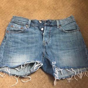 Distressed Levi denim shorts